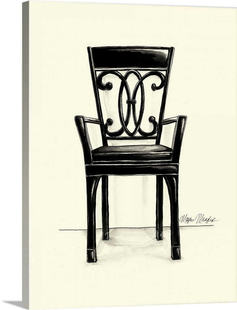 Large Solid-Faced Canvas Print Wall Art Print 30 x 40 entitled Designer Chair IV Solid-Faced Canvas Print entitled Designer Chair IV.  Multiple sizes available.  Primary colors within this image include Black, White.  Made in the USA.  All products come with a 365 day workmanship guarantee.  Inks used are latex-based and designed to last.  Canvas depth is 1.25 and includes a finished backing with pre-installed hanging hardware.  Canvas is handcrafted and made-to-order in the United States using high quality artist-grade canvas.