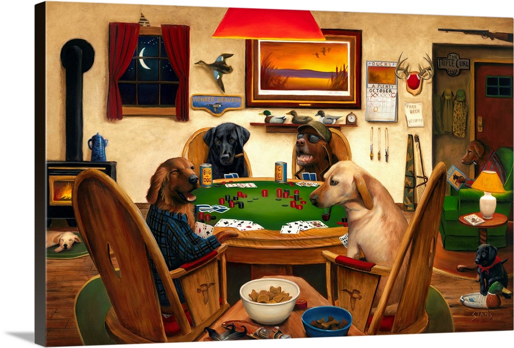 Large Gallery-Wrapped Canvas Wall Art Print 24 x 16 entitled Duck Hunters Gallery-Wrapped Canvas entitled Duck Hunters.  Horizontal artwork on a big canvas of four dogs, two wearing human clothing, sitting around a table playing poker and drinking, surrounded by the decorated wall of a hunting cabin.  Another dog reads a book in the background, and two pups are on the floor.  Multiple sizes available.  Primary colors within this image include Dark Red, Brown, Dark Yellow, Dark Forest Green.  Made in USA.  All products come with a 365 day workmanship guarantee.  Inks used are latex-based and designed to last.  Canvas frames are built with farmed or reclaimed domestic pine or poplar wood.  Canvases have a UVB protection built in to protect against fading and moisture and are designed to last for over 100 years.