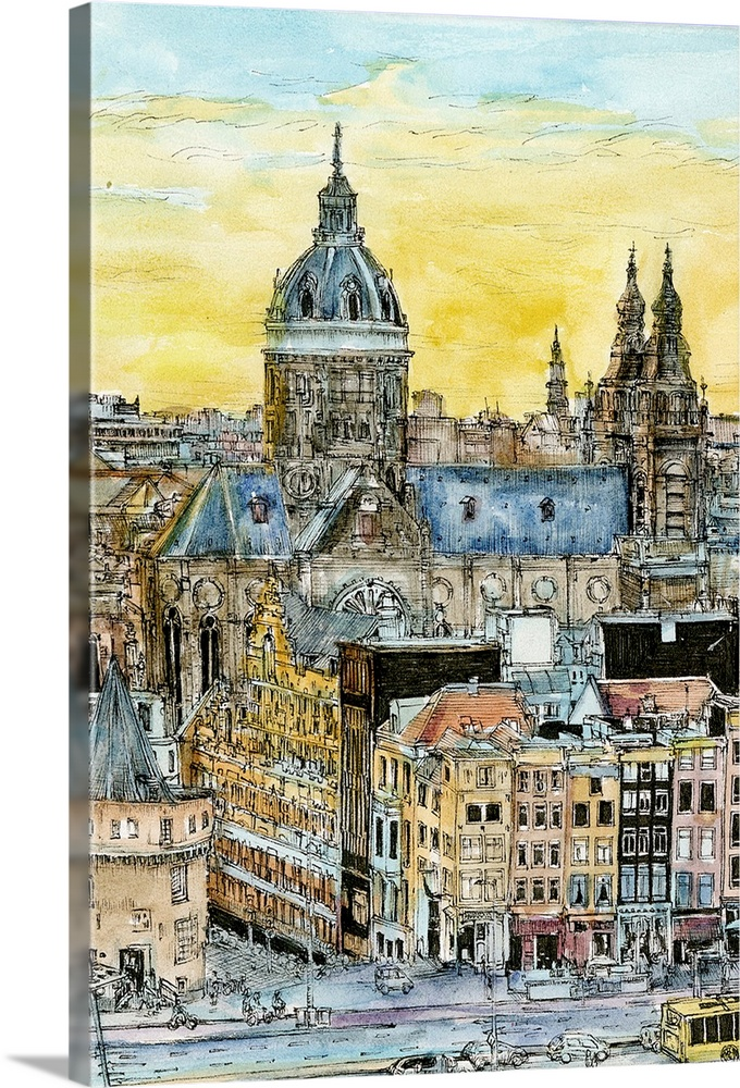 Solid-Faced Canvas Print Wall Art entitled European Afternoon V