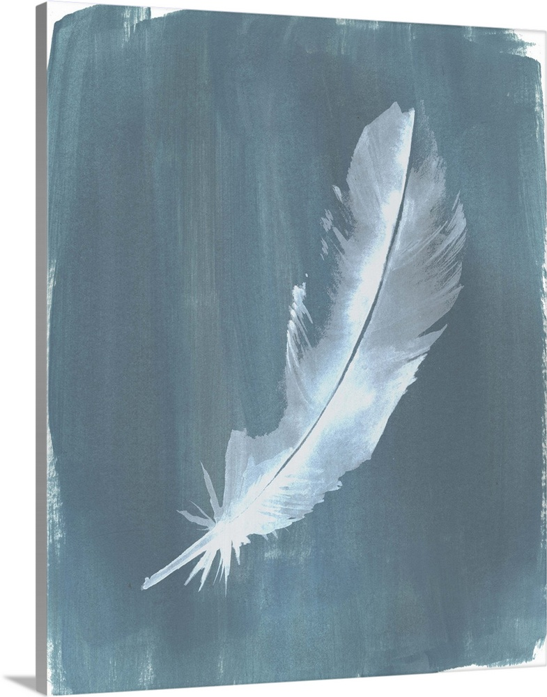 Solid-Faced Canvas Print Wall Art entitled Feathers on Dusty Teal V