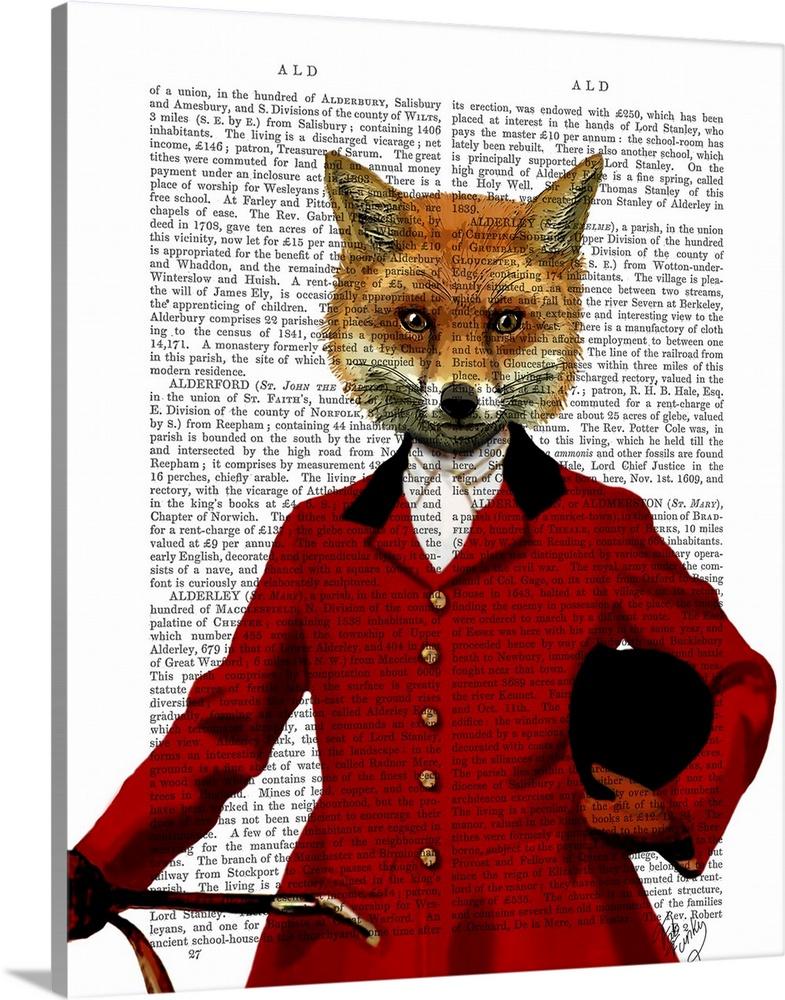 Solid-Faced Canvas Print Wall Art entitled Fox Hunter II Portrait