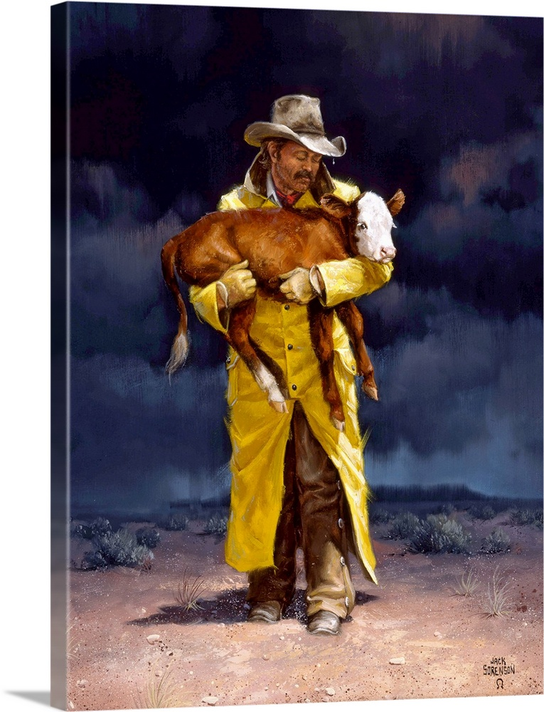 Large Solid-Faced Canvas Print Wall Art Print 30 x 40 entitled Helping Hand Solid-Faced Canvas Print entitled Helping Hand.  Contemporary Western artwork of a cowboy holding a young calf.  Multiple sizes available.  Primary colors within this image include Dark Red, Dark Yellow, Peach, Black.  Made in USA.  Satisfaction guaranteed.  Archival-quality UV-resistant inks.  Canvas is handcrafted and made-to-order in the United States using high quality artist-grade canvas.  Archival inks prevent fading and preserve as much fine detail as possible with no over-saturation or color shifting.