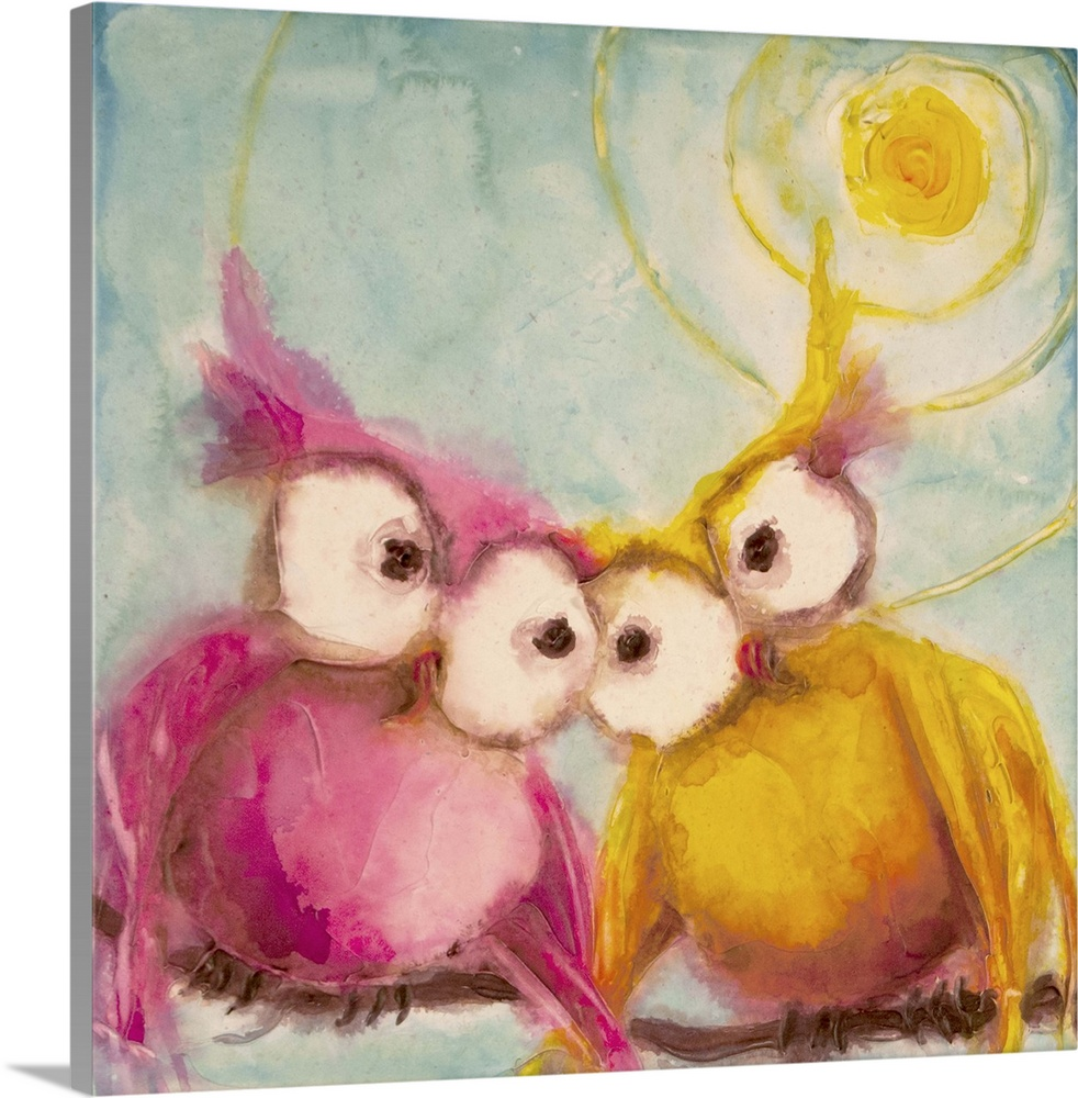 Large Solid-Faced Canvas Print Wall Art Print 20 x 20 entitled Hoo Loves You Solid-Faced Canvas Print entitled Hoo Loves You.  Cute painting of two owls with large eyes in love under the bright sun.  Multiple sizes available.  Primary colors within this image include Brown, Dark Yellow, Plum, Silver.  Made in USA.  Satisfaction guaranteed.  Inks used are latex-based and designed to last.  Canvas depth is 1.25 and includes a finished backing with pre-installed hanging hardware.  Canvas is handcrafted and made-to-order in the United States using high quality artist-grade canvas.
