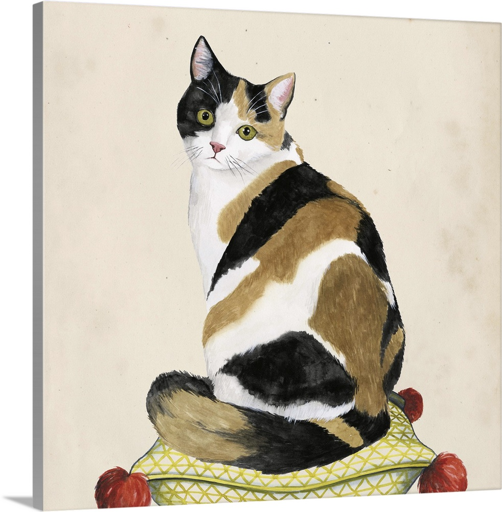 Large Gallery-Wrapped Canvas Wall Art Print 20 x 20 entitled Lady Cat III Gallery-Wrapped Canvas entitled Lady Cat III.  Illustration of a calico cat sitting on a patterned pillow.  Multiple sizes available.  Primary colors within this image include Brown, Silver, Dark Forest Green.  Made in USA.  All products come with a 365 day workmanship guarantee.  Inks used are latex-based and designed to last.  Museum-quality, artist-grade canvas mounted on sturdy wooden stretcher bars 1.5 thick.  Comes ready to hang.  Canvas is a 65 polyester, 35 cotton base, with two acrylic latex primer basecoats and a semi-gloss inkjet receptive topcoat.
