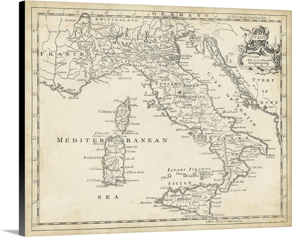 Solid-Faced Canvas Print Wall Art entitled Map of
