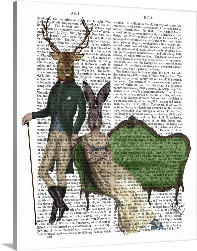 Solid-Faced Canvas Print Wall Art entitled Mr Deer and Mrs Rabbit