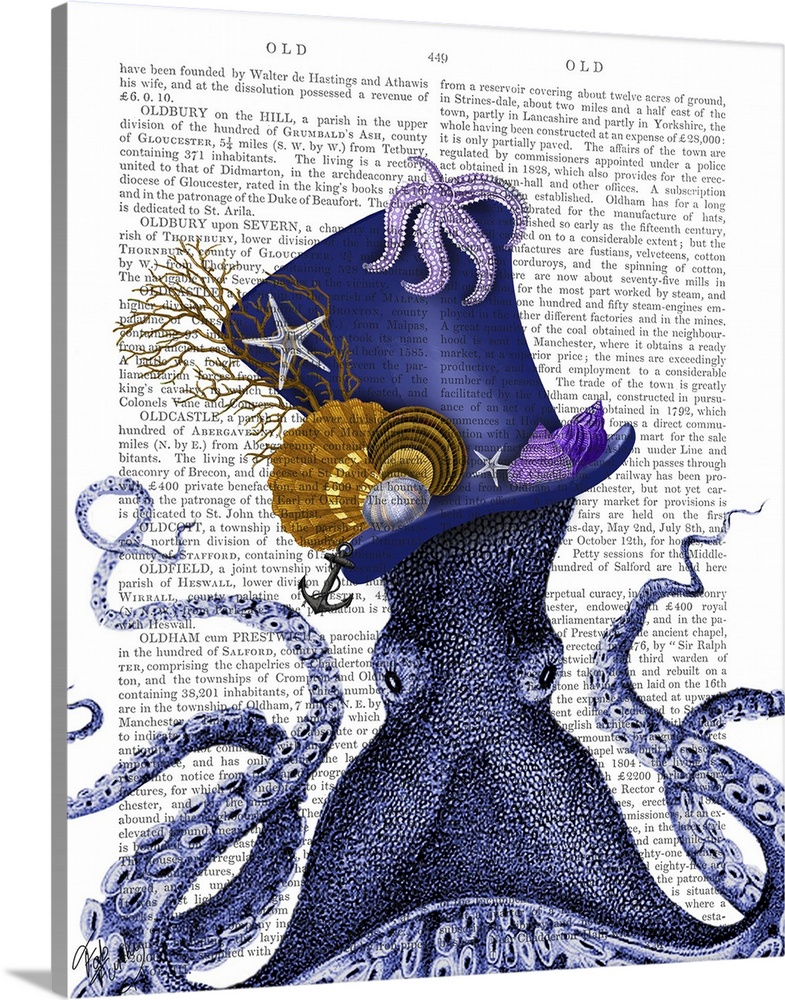 Solid-Faced Canvas Print Wall Art entitled Octopus Nautical Hat