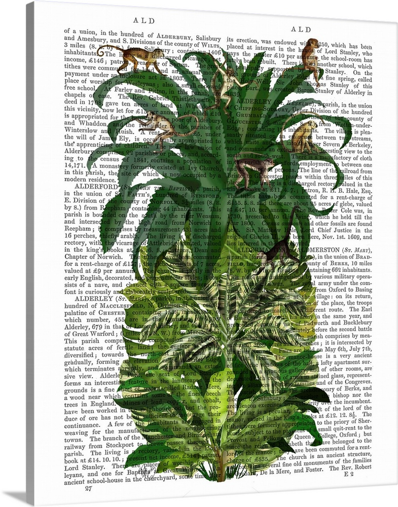 Solid-Faced Canvas Print Wall Art entitled Pineapple, Monkeys