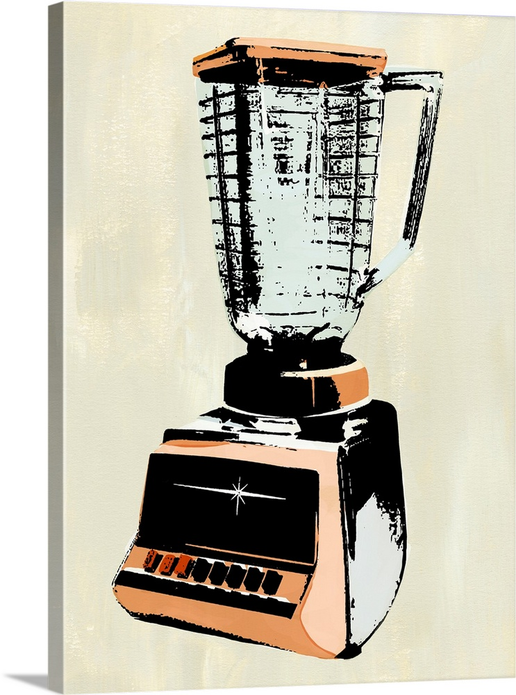 Large Solid-Faced Canvas Print Wall Art Print 30 x 40 entitled Retro Kitchen Appliance I Solid-Faced Canvas Print entitled Retro Kitchen Appliance I.  Multiple sizes available.  Primary colors within this image include Peach, Black, Gray.  Made in USA.  Satisfaction guaranteed.  Inks used are latex-based and designed to last.  Canvas depth is 1.25 and includes a finished backing with pre-installed hanging hardware.  Canvas is handcrafted and made-to-order in the United States using high quality artist-grade canvas.