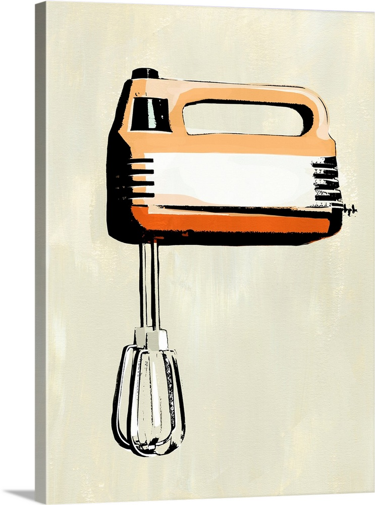 Large Solid-Faced Canvas Print Wall Art Print 30 x 40 entitled Retro Kitchen Appliance III Solid-Faced Canvas Print entitled Retro Kitchen Appliance III.  Multiple sizes available.  Primary colors within this image include Orange, Peach, Black, White.  Made in USA.  All products come with a 365 day workmanship guarantee.  Archival-quality UV-resistant inks.  Featuring a proprietary design, our canvases produce the tightest corners without any bubbles, ripples, or bumps and will not warp or sag over time.  Archival inks prevent fading and preserve as much fine detail as possible with no over-saturation or color shifting.