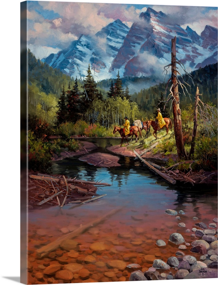 Large Solid-Faced Canvas Print Wall Art Print 30 x 40 entitled Ridin' the High Country Solid-Faced Canvas Print entitled Ridin the High Country.  Contemporary Western artwork of cowboys on horseback in the shadow of the Rocky Mountains near a stream.  Multiple sizes available.  Primary colors within this image include Brown, Black, Gray, Light Gray Blue.  Made in the USA.  All products come with a 365 day workmanship guarantee.  Archival-quality UV-resistant inks.  Canvas depth is 1.25 and includes a finished backing with pre-installed hanging hardware.  Archival inks prevent fading and preserve as much fine detail as possible with no over-saturation or color shifting.