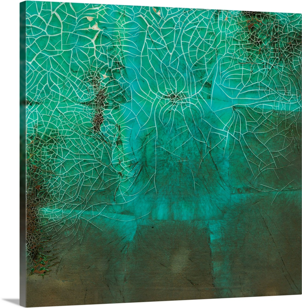 Large Gallery-Wrapped Canvas Wall Art Print 16 x 16 entitled Shattered Expectations III Gallery-Wrapped Canvas entitled Shattered Expectations III.  Multiple sizes available.  Primary colors within this image include Dark Forest Green Light Gray Blue.  Made in the USA.  Satisfaction guaranteed.  Inks used are latex-based and designed to last.  Canvases have a UVB protection built in to protect against fading and moisture and are designed to last for over 100 years.  Canvas frames are built with farmed or reclaimed domestic pine or poplar wood.