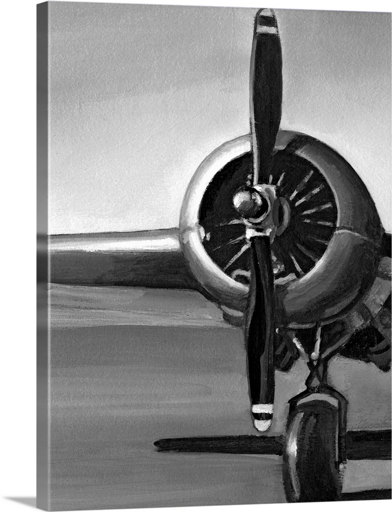 Large Solid-Faced Canvas Print Wall Art Print 30 x 40 entitled Vintage Flight I Solid-Faced Canvas Print entitled Vintage Flight I.  Vertical, oversized artwork of a wing, propeller and wheel on a vintage airplane, casting a shadow on the ground.  Multiple sizes available.  Primary colors within this image include Dark Gray, Light Gray, White.  Made in the USA.  All products come with a 365 day workmanship guarantee.  Inks used are latex-based and designed to last.  Canvas depth is 1.25 and includes a finished backing with pre-installed hanging hardware.  Canvas is handcrafted and made-to-order in the United States using high quality artist-grade canvas.