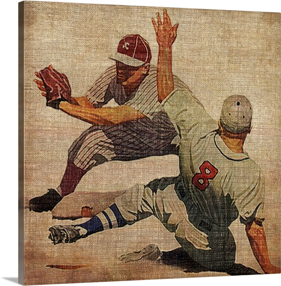 Large Solid-Faced Canvas Print Wall Art Print 20 x 20 entitled Vintage Sports VII Solid-Faced Canvas Print entitled Vintage Sports VII.  Big antique sports art includes a baseball player preparing to tag out a sliding opposing player at a base.  Artist gives this piece a slightly rough texture over top of it.  Multiple sizes available.  Primary colors within this image include Peach, Dark Gray, White.  Made in USA.  All products come with a 365 day workmanship guarantee.  Inks used are latex-based and designed to last.  Archival inks prevent fading and preserve as much fine detail as possible with no over-saturation or color shifting.  Canvas is handcrafted and made-to-order in the United States using high quality artist-grade canvas.