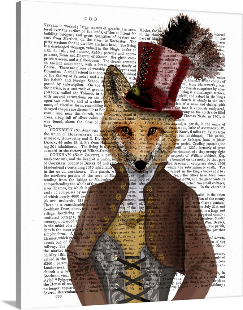 Large Solid-Faced Canvas Print Wall Art Print 24 x 30 entitled Vivienne Steampunk Fox Solid-Faced Canvas Print entitled Vivienne Steampunk Fox.  Portrait of a fox dressed in Victorian clothes painted over a vintage dictionary page.  Multiple sizes available.  Primary colors within this image include Brown, Black, Gray, White.  Made in USA.  All products come with a 365 day workmanship guarantee.  Archival-quality UV-resistant inks.  Canvas depth is 1.25 and includes a finished backing with pre-installed hanging hardware.  Featuring a proprietary design, our canvases produce the tightest corners without any bubbles, ripples, or bumps and will not warp or sag over time.